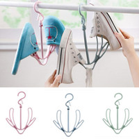 Wholesale clothes hanging shelf - Double Hook Hanging Shoe Rack 360° Rotating Hangers For Clothing Ties Hats Scarves Storage Rack Shelf HH7-1056