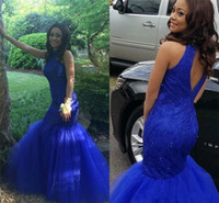 Wholesale customized high neck evening dresses for sale - Group buy Royal Blue Mermaid Prom Dresses High Neck Mermaid Open Back Lace Beads Long Evening Party Pageant Gowns Vestidos Plus Size Customized