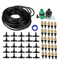 Wholesale 7mm hose online - 25m Copper Nozzle Irrigation System Portable Misting Automatic Watering Garden Hose Spray Head With mm Tee and Connector
