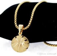 altın top zincir kolye kadın toptan satış-Sıcak top Moda Yaratıcı Basketbol Kolye Kolye Altın Gümüş Kaplama Paslanmaz Çelik Zincir Retro Kolye Kadınlar Takı Aksesuarları Için