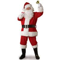 vater weihnachten kostüme großhandel-Erwachsenen Weihnachtsmann Kostüm Anzug Plüsch Vater Fancy Kleidung Weihnachten Cosplay Requisiten Männer Mantel Hosen Bart Gürtel Hut Weihnachten Set