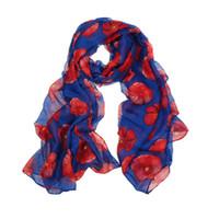красный пляжный шарф оптовых-Новый красный мак печати длинный шарф цветок пляж Wrap дамы украли Шаль шелковые шарфы шали пляж палантины женские элегантный шарф осень