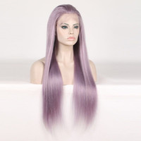 Wholesale 12 inch purple hair resale online - Long Colorful Purple Wigs inch Lace Frontal Wigs Brazilian Straight Human Remy Hair Wigs Density Pre Plucked Human Hair