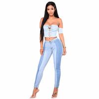 jeans para mujer ajustados al por mayor-Jeans para mujer Skinny Jeans Mujer cintura media Colorblock Stitching Tight-fitting Pencil Pants Sección larga algodón