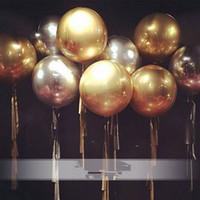 globos de color dorado al por mayor-22 pulgadas de oro / plata 4D cubo redondo en forma de papel de aluminio globo de helio feliz boda cumpleaños fiesta decoración suministros 8 colores