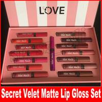 Wholesale gift secret - Secret Liquid Lipstick set Velvet Matte Secret lipgloss 15pcs set box lip gloss with Gift Paper Bag