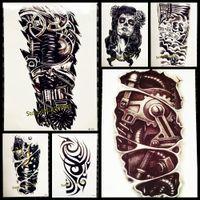 tatouages femmes sexe achat en gros de-Cool Robot Arm Grand Tatouage Temporaire Hommes Corps ARt Mécanique Patten Faux Tatouage Autocollants 21x15CM Tatoo Étanche Sexe Femmes