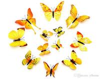 ingrosso farfalle deco-NUOVO 12pc 3D Art Farfalla Applique Wall Sticker Home Decor Camera Art Deco Wallpaper Camera da letto Soggiorno selezione