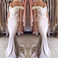 Wholesale off shoulder chiffon navy dress resale online - 2018 New Blush Pink Lace Chiffon Bridesmaid Dresses Long Off shoulder Zipper Back Formal Party Gowns Sweet Girls Junior Bridesmaid Dress