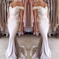 allık uzun şifon elbisesi toptan satış-2018 Yeni Allık Pembe Dantel Şifon Gelinlik Modelleri Uzun Off-omuz Fermuar Geri Örgün Parti Törenlerinde Tatlı 16 Kızlar Genç Nedime Elbisesi