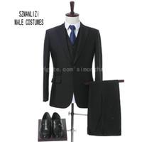 9ba86fc37e Shiny preto formal vestido homens ternos smoking 2018 Custom Made elegante  3 peças traje Homme noivo ternos para casamento (jaqueta + colete + calça +  ...