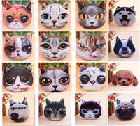 Wholesale tiger animal plush - 3D girl Printing Cat Dog Tiger wallet bag ladies face zipper mini cat coin purses dog children's purse plush coins pouch