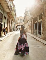 длинные платья из хлопка летние оптовых-women dress summer Fashion long maxi dresses floral print cotton sexy robe backless boho hippie chic vestidos clothing