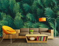 Wholesale Paintings Japan - Custom Any Size Mural Wallpaper 3D Stereo Green Leaves Forests Fresco Living Room Study Restaurant Backdrop Wall Painting Decor