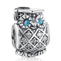 ingrosso fascini dell'occhio del gufo-Blue Crystal Eye Owl Charms Beads Autentico 925 Sterling-Silver-Jewelry Bead Animal DIY 2017 Estate Braccialetti di marca Accessori HB465