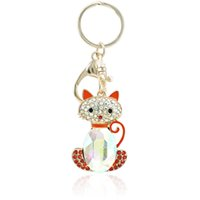 Wholesale crystal keyring animal for sale - Group buy Fashion Gold Plated Animal Lobster Clasp Metal Keyring Rhinestone Crystal Cat Charms Keychains For Women Luxury Handbag Jewelry