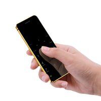 tarjeta protectora de pantalla al por mayor-Metal Body Ulcool V36 Bluetooth 2.0 Dialer Anti-lost Dual Sim Ultrathin Credit Card Teléfono celular móvil + estuche + Protector de pantalla