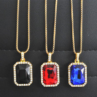 Wholesale ruby stone necklace - Crystal Onyx Pendant Necklace Set Square Red, Black, Blue,Green, White Stone Pendant 30inch Box Chain Mens Jewelry