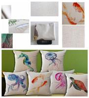 ingrosso polpo di mare animale-fodera per cuscino in lino stampato animali marini polpo mare pesce firma morbida cotone per divano casa DDA697