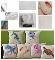 Wholesale octopus sea animal resale online - marine animal printed linen pillowcase cushion cover octopus sea horse fish soft signature cotton for home sofa DDA697