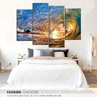 Wholesale sun painting modern art - Under The Sun The Sea Waves Rolled Frameless Paintings 4pcs No Frame Printd on Canvas Arts Modern Home Wall Art HD Print Painting