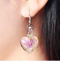 Wholesale heart disco ball online - Glow in Dark Floral Heart Italy Murano Glass Earring Fashion Earrings Luxury Designer Earring Designer Jewelry Big Hoop Earrings Disco Ball