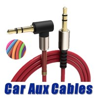 Wholesale right angle mini - 1Pc Aluminum Alloy Car Aux Cables 3.5mm Male to Male Right Angle Car Auxiliary Audio Cable Cord For Phone MP3 Car Stereo