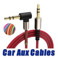 rechtwinklige mini-usb-kabel großhandel-Aluminiumlegierung Car Aux Kabel 3,5 mm Stecker auf Stecker rechtwinklig Car Auxiliary Audio Kabel für Telefon Samsung MP3 Car Stereo