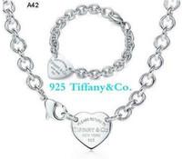 metal harf bilezikleri toptan satış-Yüksek Kalite Ünlü tasarım Mektubu 925 Gümüş Yüzük bilezik Küpe kolye Gümüş Metal Kalp şeklinde Mücevherat Seti 3 adet Kutusu Ile