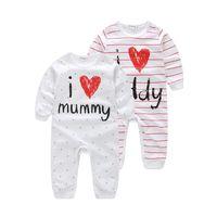 648c6d7a9545e Joliment bébé vêtements J aime DaddyMummy 100% coton pur bébé Romper Unisexe -bébé barboteuse en coton biologique nouveau-né