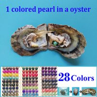 Wholesale Circle Pearls - 10 PCS free shipping round pearl oyster 6-8mm peacock, Dark pink, teal, purple, green colored pearl beads in oyster with vacuum-packed 03