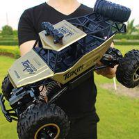 motor de coche rc 4wd al por mayor-1:12 Grande 37 cm de Aleación de Oro RC Coches 4WD Radio Control LED Luz Juguetes Camiones Off-Road RC Coches Juguetes para Niños Regalos de Navidad