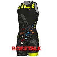 Wholesale custom team clothing - 2018ALE PRO bike RACE team men sleeveless Italian craftsmanship CUSTOM TRIATHLON LONG TRI STELLE FRONT ZIPPER SKINSUIT Run clothing Swimwear