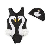 купальный колпак мода оптовых-Девушка комплект одежды купальники летний купальный костюм + Cap 2 шт. мода Лебедь купальный костюм дети девушки одежда наборы 2-6 лет