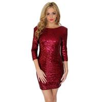 mini robe dos nu clubwear achat en gros de-2018Nouvelle robe sexy à paillettes pour femmes Fashion Clubwear robes de soirée backless Bodycon Sequin robe de Noël robe de nouvel an rouge noir blanc