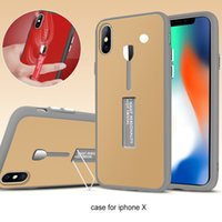 Wholesale Full Body Design - New Design Kickstand Case Hybrid 360 Degree Full Body Protective Case Defender Cover With Metal Bracket For iPhone X 8 8plus 7 6 6S Plus