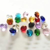 ingrosso perlina in ottone di vetro-200pcs 14mm 2 fori Clear K9 Crystal Glass Octagon perline di cristallo lampada lampadario parti prisma decorazione