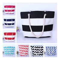 Canvas stripe Tote Beach Bags Large Capacity Foldable Wave pattern Handbags Reusable Shopping Bag Travel Maternity bag Diaper Bags B11