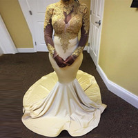 Wholesale mermaid weding dresses for sale - Group buy Gold and White Mermaid Prom Dresses High Neck Long Sleeve Lace Applique Evening Dresses Prom Gowns Weding Party Guest Dresses