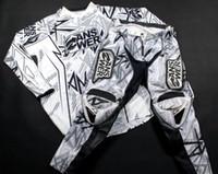 bisiklet yarışı formaları beyaz toptan satış-Büyük Boy Renk Beyaz Motokros Strike Jersey + Pantolon Sürme Setleri Motocross MX ATV Dirt Bike Yarış Dişli Combo