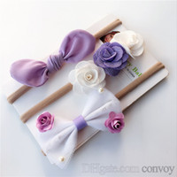 Wholesale bow knots - 3PCS SET baby headbands bowknot ribbon nylon hairbands kids girls bunny bow children turbon twisted knot headwear headdress set KHA427