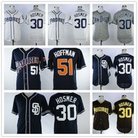 Wholesale Majestic Throwback Jerseys - 30 Eric Hosmer 51 Trevor Hoffman San Diego Padre Majestic Authentic Navy White Throwback Player Flex Base Team Jerseys