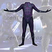 Wholesale Female Superheroes - 2018 Black Panther Muscle The Flash Superhero Spandex Lycra Zentai Halloween Cosplay Party suit