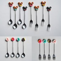 ingrosso favori del partito della cucina-Cartoon Coffee Spoon Fork Resin Donuts Tea Stirring Cucchiaio Exquisite Drink Kitchen Tableware Wedding Party Favors 2018 NOVITÀ