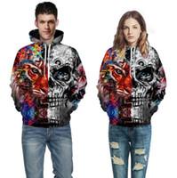 chaquetas de jersey de niños al por mayor-Half Skull Half Tiger Sudaderas con capucha impresas Hombres Sudaderas con capucha 3D Sudaderas Boy Chaquetas Jersey Street Wear Out Coat