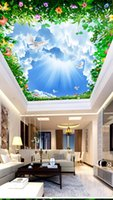 Wholesale fragrant white flowers for sale - Group buy Custom Retail Blue Sky White Clouds Vines Fragrant Zenith Murals Through Flowers Grass Beautiful Sky Bright Birds Flying Murals