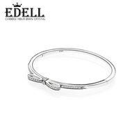 Wholesale Diamond Bow Bracelets - EDELL Fine jewelry 925 Sterling Silver Bangle with Women Wedding & Party Clear CZ Fashion Bow Tie Diamond Bracelet Fit love