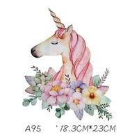 Wholesale cartoon patch clothing online - Girls T Shirt Cute Unicorn Patches Sticker Cartoon DIY Stickers For T shirt Funny Iron on Transfers Patches For Clothes