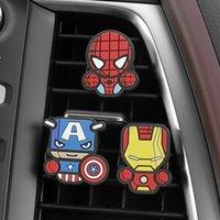 accesorios héroes maravilla al por mayor-3 unids / set Lindo Automóvil Vent Clip de Perfum Del Coche Para Marvel Avengers Héroe Figura Auto Decoración Interior Ambientador Accesorios