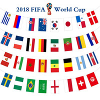 Wholesale banner sets - 26.2ft (8m)2018 World Cup Flags Banner Large Size Set of 32 Country Flags for World Cup Decorations, Fans, Bars or Sport Clubs